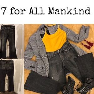 7 For All Mankind flare washed jeans raw hem